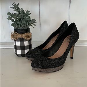 Vince Camuto black and gray sparkle pump.